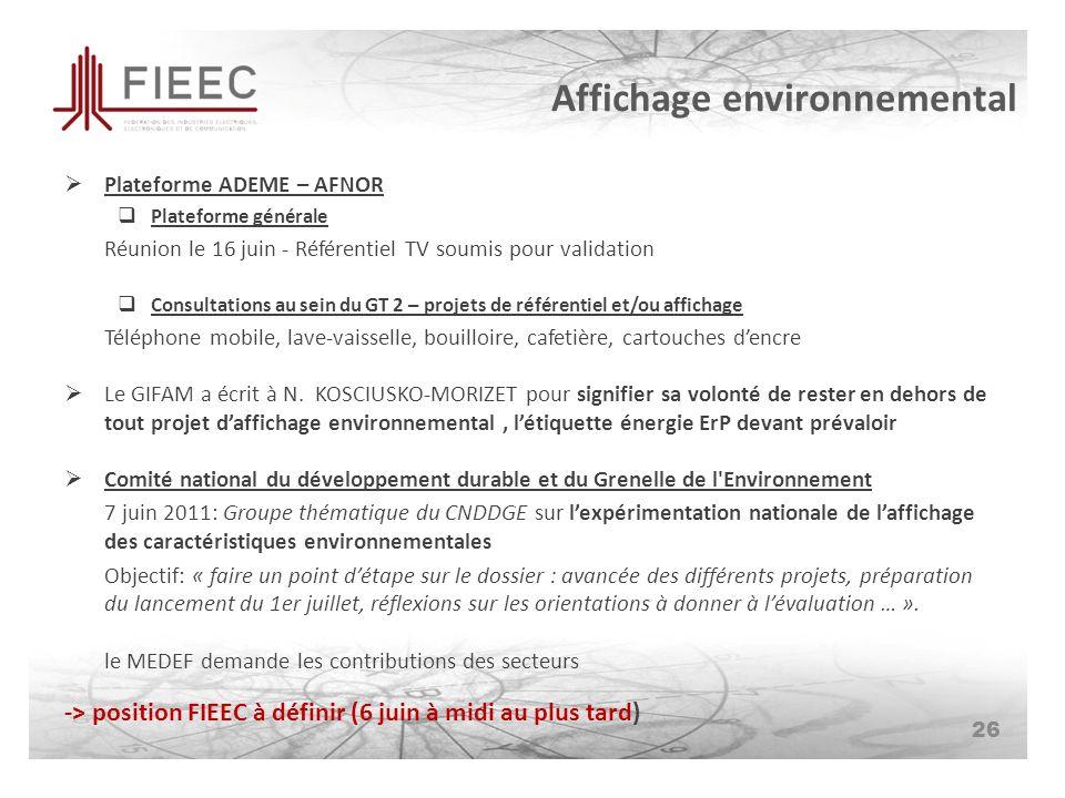 Affichage environnemental Plateforme ADEME – AFNOR Plateforme générale Réunion le 16 juin - Référentiel TV soumis pour validation Consultations au sein du GT 2 – projets de référentiel et/ou affichage Téléphone mobile, lave-vaisselle, bouilloire, cafetière, cartouches dencre Le GIFAM a écrit à N.