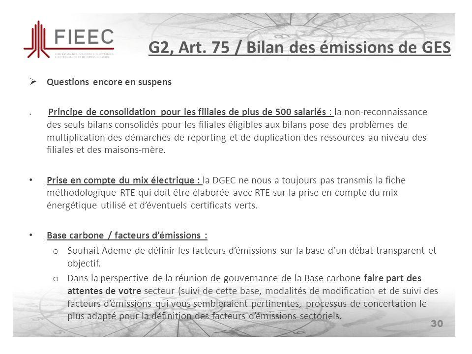 G2, Art. 75 / Bilan des émissions de GES Questions encore en suspens.