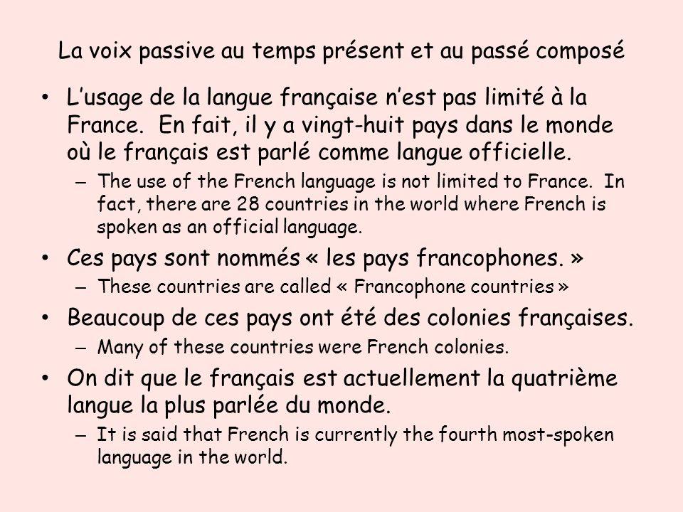 La voix passive au temps présent et au passé composé Lusage de la langue française nest pas limité à la France. En fait, il y a vingt-huit pays dans l