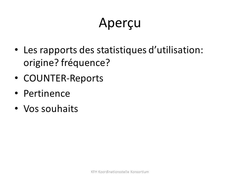 Aperçu Les rapports des statistiques dutilisation: origine.