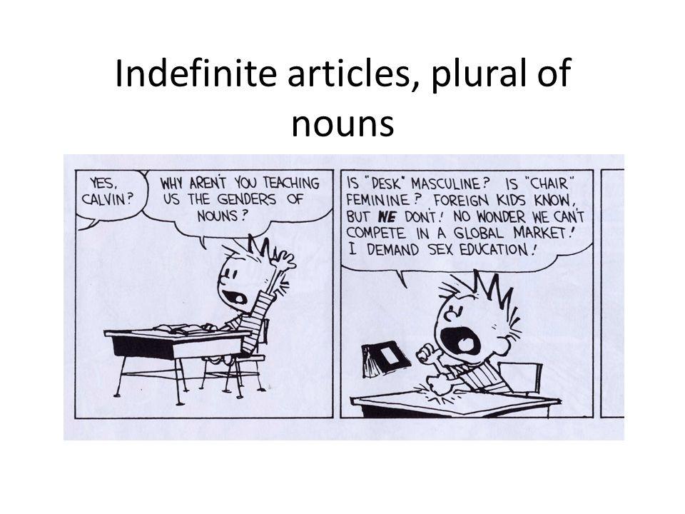 Indefinite articles, plural of nouns