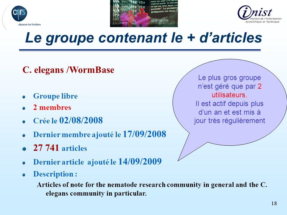 18 Le groupe contenant le + darticles C. elegans /WormBase Groupe libre 2 membres Crée le 02/08/2008 Dernier membre ajouté le 17/09/2008 27 741 articl