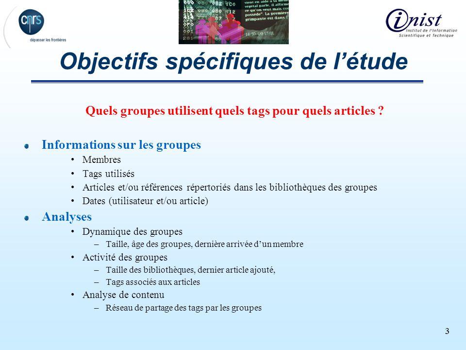 33 Objectifs spécifiques de létude Quels groupes utilisent quels tags pour quels articles ? Informations sur les groupes Membres Tags utilisés Article