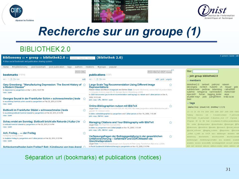 31 Recherche sur un groupe (1) BIBLIOTHEK 2.0 Séparation url (bookmarks) et publications (notices)