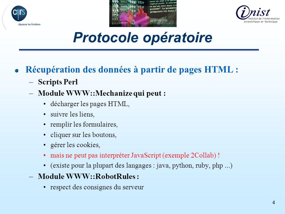 44 Protocole opératoire Récupération des données à partir de pages HTML : –Scripts Perl –Module WWW::Mechanize qui peut : décharger les pages HTML, su
