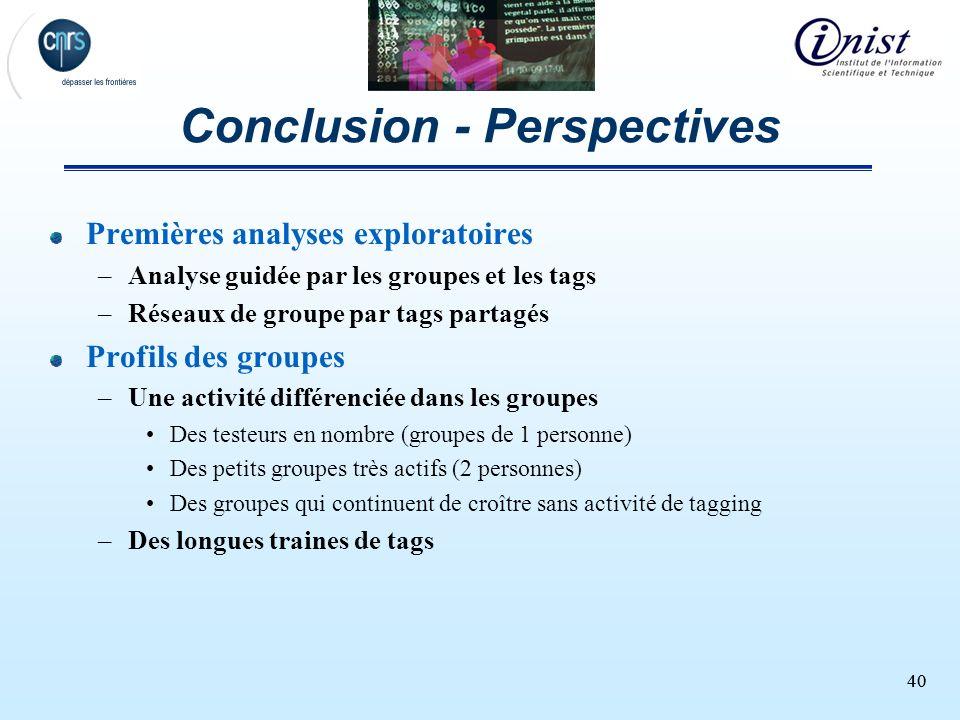 40 Conclusion - Perspectives Premières analyses exploratoires –Analyse guidée par les groupes et les tags –Réseaux de groupe par tags partagés Profils
