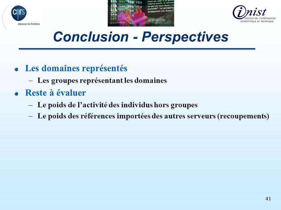 41 Conclusion - Perspectives Les domaines représentés –Les groupes représentant les domaines Reste à évaluer –Le poids de lactivité des individus hors