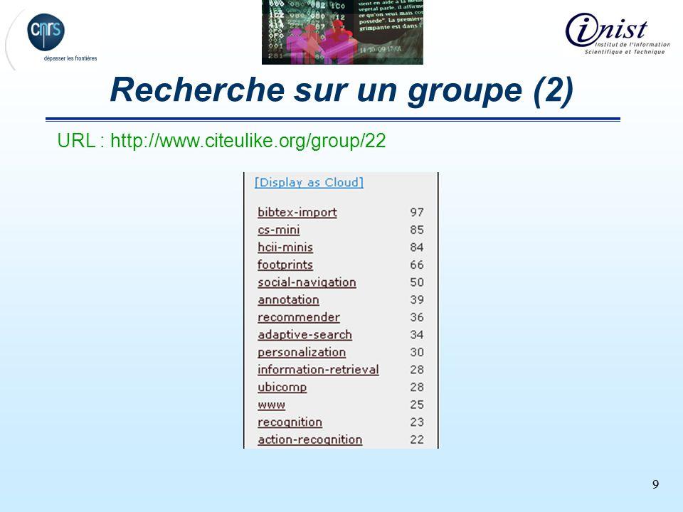 99 Recherche sur un groupe (2) URL : http://www.citeulike.org/group/22
