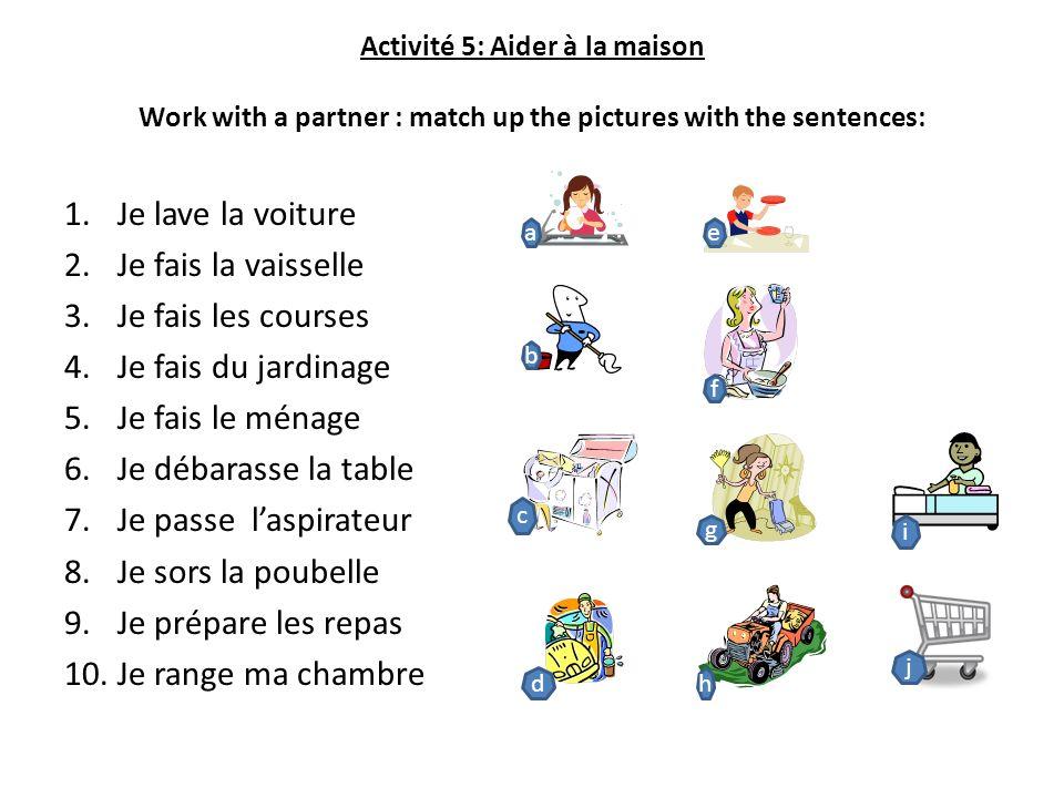 Activité 5: Aider à la maison Work with a partner : match up the pictures with the sentences: 1.Je lave la voiture 2.Je fais la vaisselle 3.Je fais le