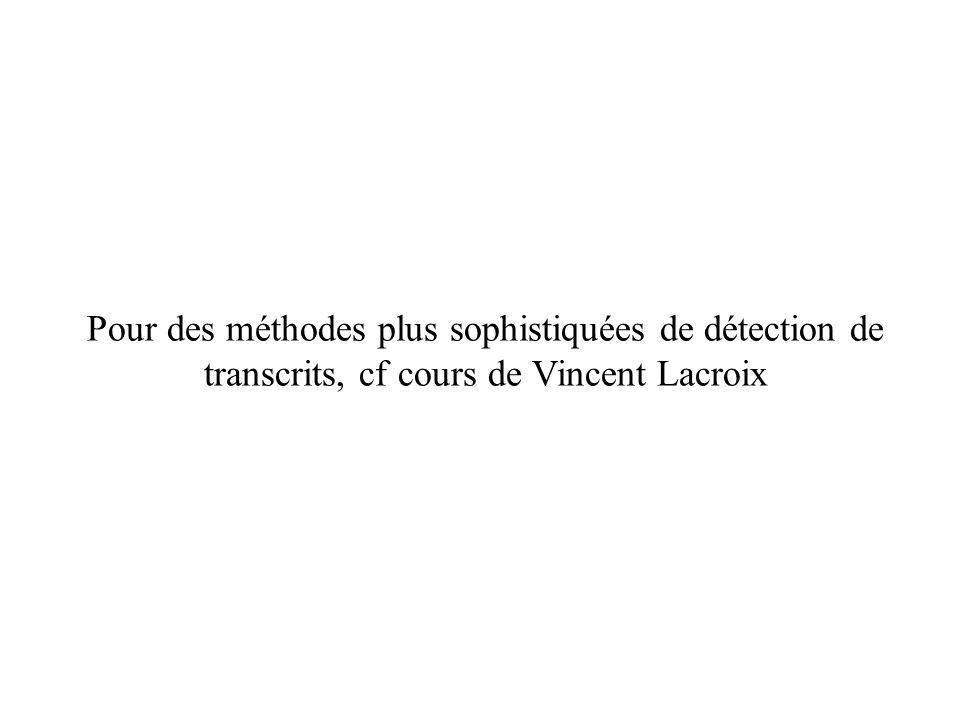 Pour des méthodes plus sophistiquées de détection de transcrits, cf cours de Vincent Lacroix