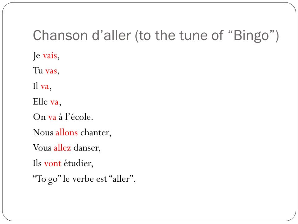 Chanson daller (to the tune of Bingo) Je vais, Tu vas, Il va, Elle va, On va à lécole.