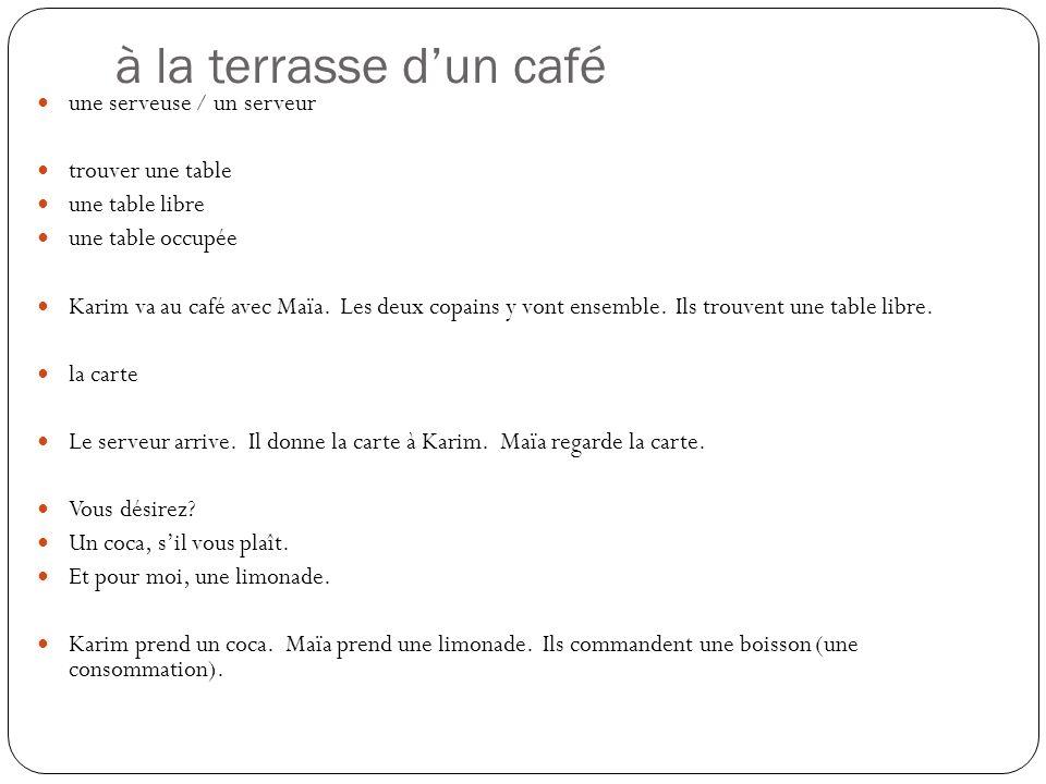 à la terrasse dun café une serveuse / un serveur trouver une table une table libre une table occupée Karim va au café avec Maïa. Les deux copains y vo
