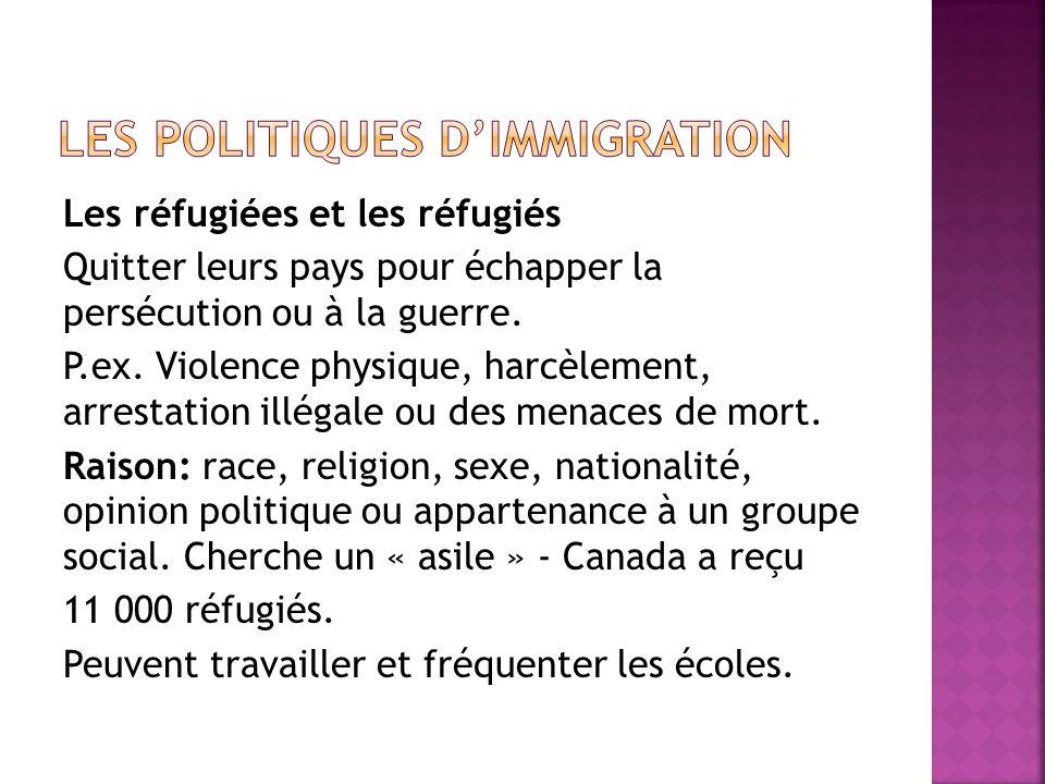 Les réfugiées et les réfugiés Quitter leurs pays pour échapper la persécution ou à la guerre.