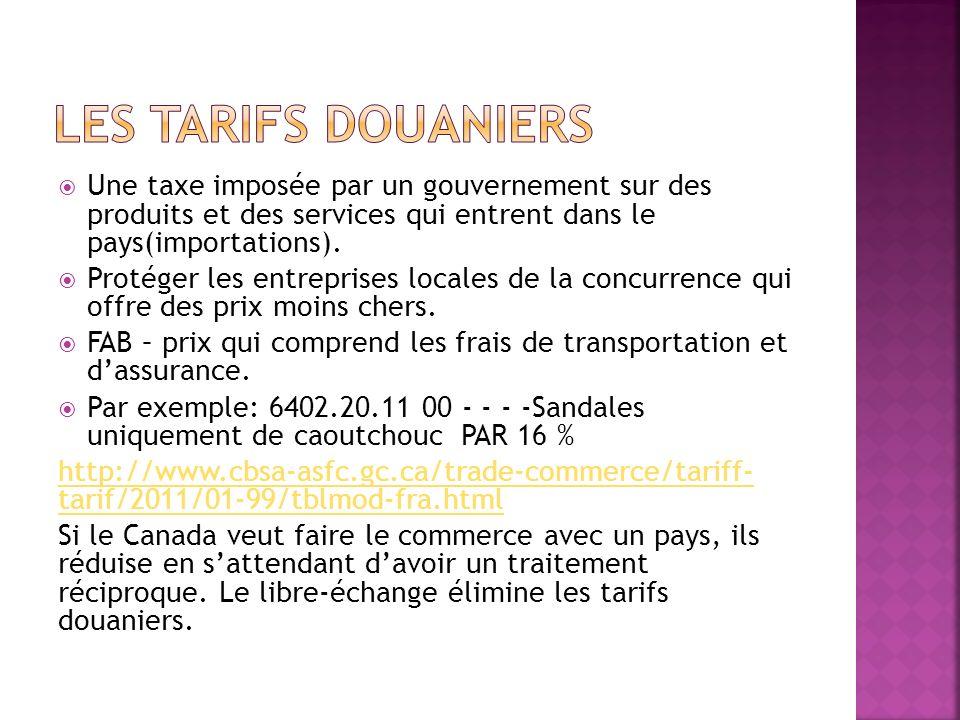 Une taxe imposée par un gouvernement sur des produits et des services qui entrent dans le pays(importations).