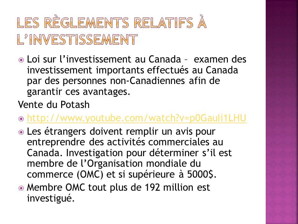 Même pour les membres de « OMC » la limite de 5000$ sapplique si lentreprise: - Exerce des activités de production duranium - Propriétaire dun droit sur un terrain uranifère exploité au Canada - Offre des services financiers - Offre des services de transport.