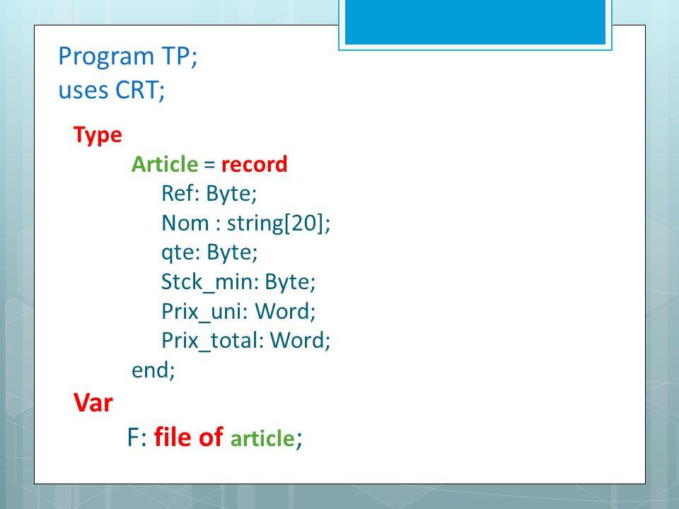 Program TP; uses CRT; Type Article = record Ref: Byte; Nom : string[20]; qte: Byte; Stck_min: Byte; Prix_uni: Word; Prix_total: Word; end; Var F: file of article ;