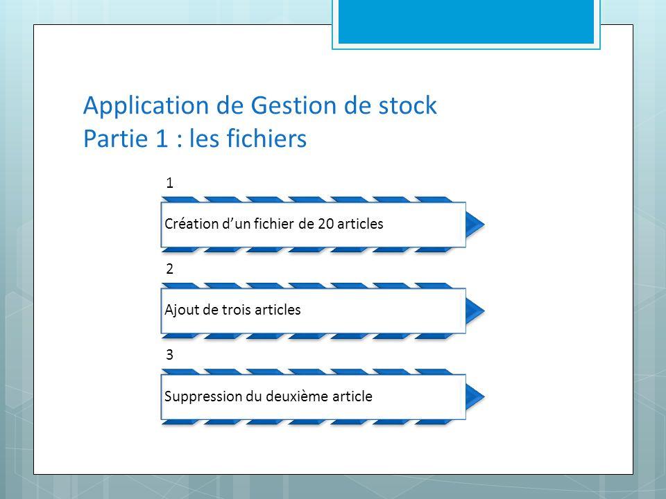 Application de Gestion de stock Partie 1 : les fichiers 1 Création dun fichier de 20 articles 2 Ajout de trois articles 3 Suppression du deuxième article