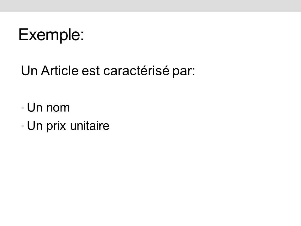 Exemple: Un Article est caractérisé par: Un nom Un prix unitaire