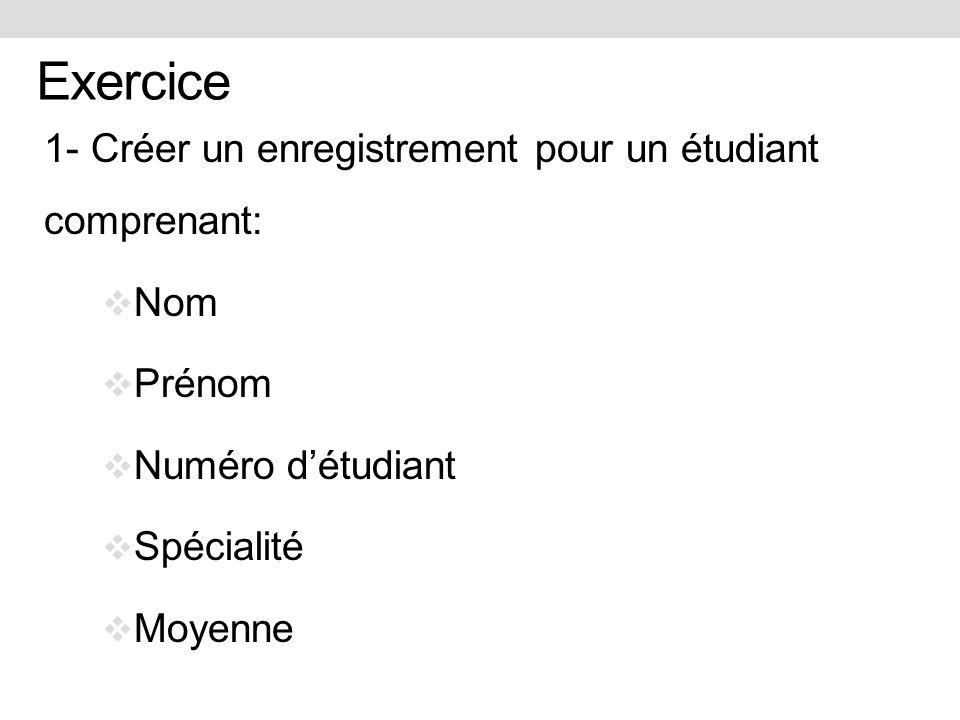 Exercice 1- Créer un enregistrement pour un étudiant comprenant: Nom Prénom Numéro détudiant Spécialité Moyenne