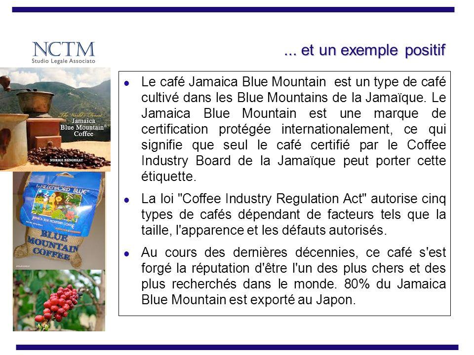 ... et un exemple positif Le café Jamaica Blue Mountain est un type de café cultivé dans les Blue Mountains de la Jamaïque. Le Jamaica Blue Mountain e