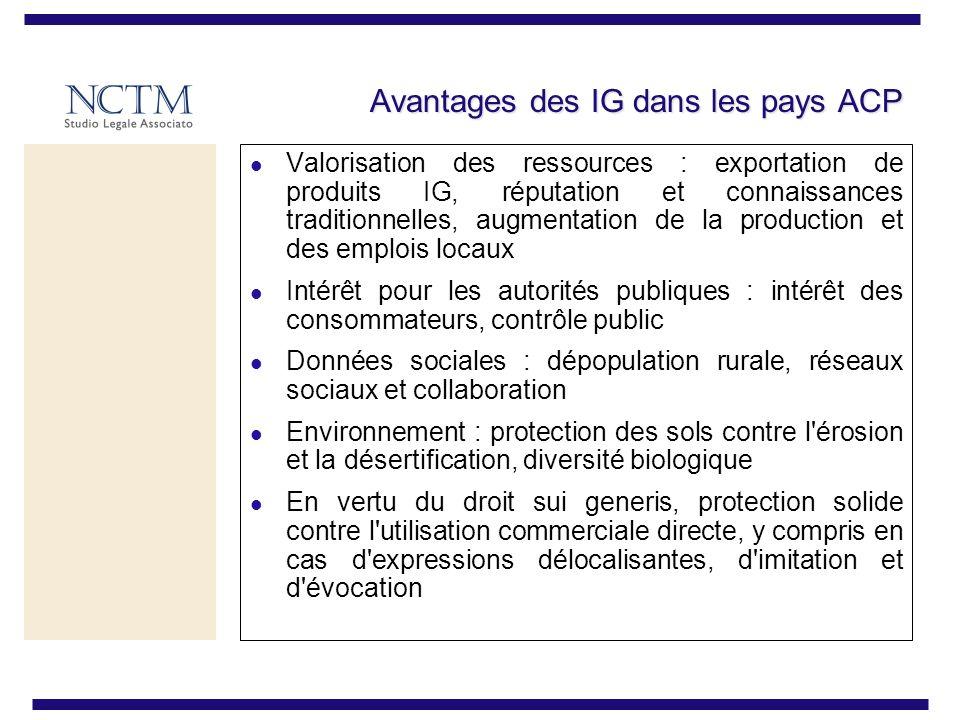 Avantages des IG dans les pays ACP Valorisation des ressources : exportation de produits IG, réputation et connaissances traditionnelles, augmentation