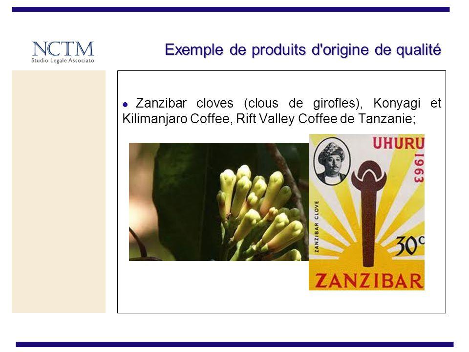 Exemple de produits d origine de qualité Zanzibar cloves (clous de girofles), Konyagi et Kilimanjaro Coffee, Rift Valley Coffee de Tanzanie;