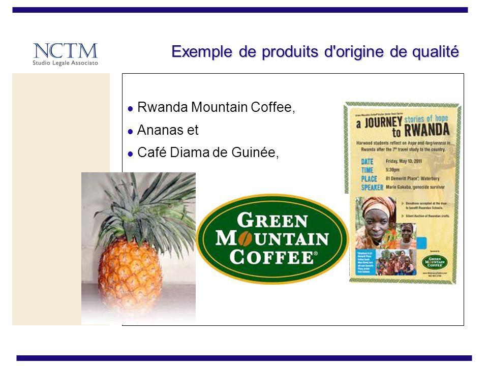 Exemple de produits d origine de qualité Rwanda Mountain Coffee, Ananas et Café Diama de Guinée,