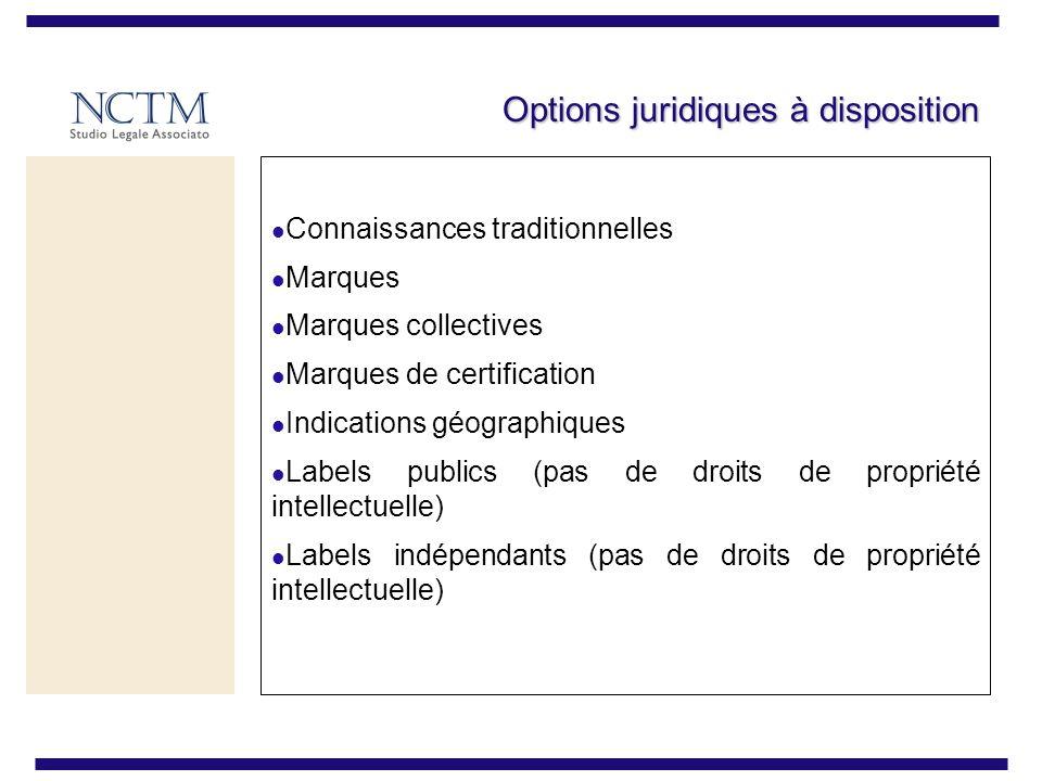 Options juridiques à disposition Connaissances traditionnelles Marques Marques collectives Marques de certification Indications géographiques Labels publics (pas de droits de propriété intellectuelle) Labels indépendants (pas de droits de propriété intellectuelle)