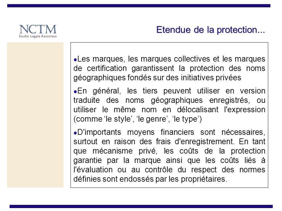 Etendue de la protection... Les marques, les marques collectives et les marques de certification garantissent la protection des noms géographiques fon
