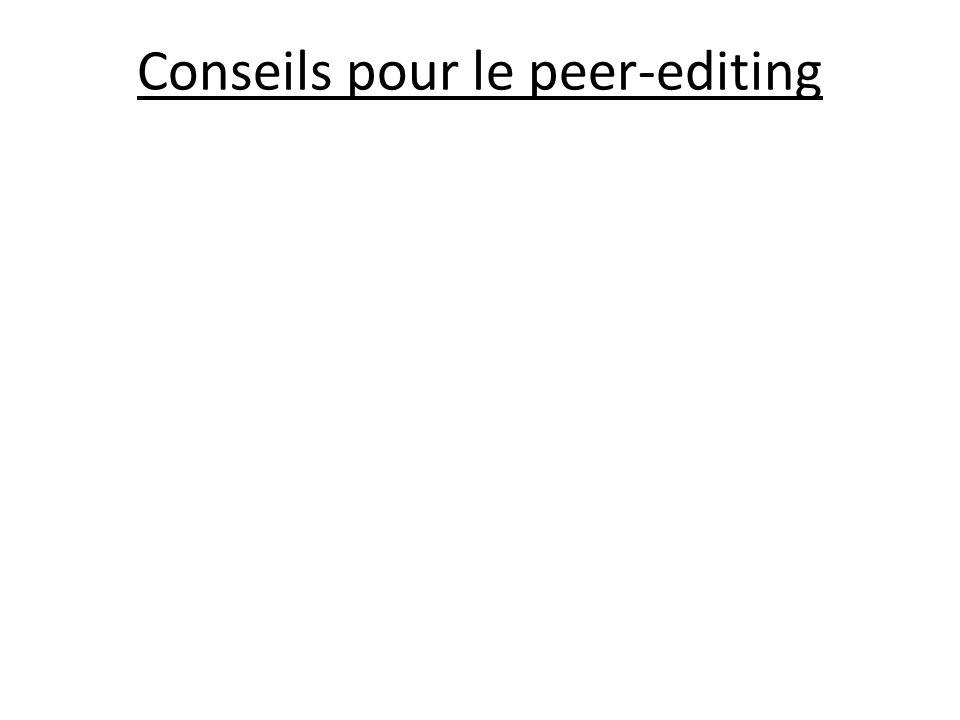 Conseils pour le peer-editing