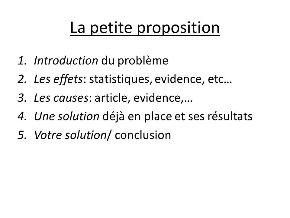 La petite proposition 1.Introduction du problème 2.Les effets: statistiques, evidence, etc… 3.Les causes: article, evidence,… 4.Une solution déjà en place et ses résultats 5.Votre solution/ conclusion