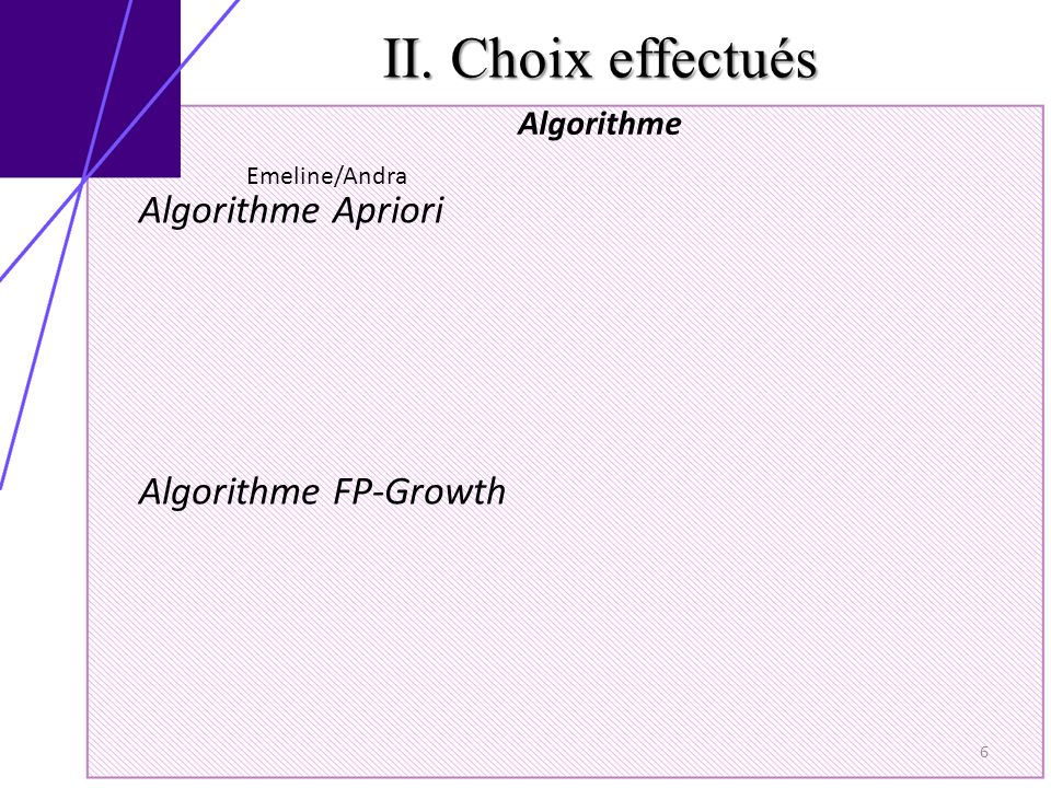 II. Choix effectués Algorithme 6 Algorithme Apriori Algorithme FP-Growth Emeline/Andra