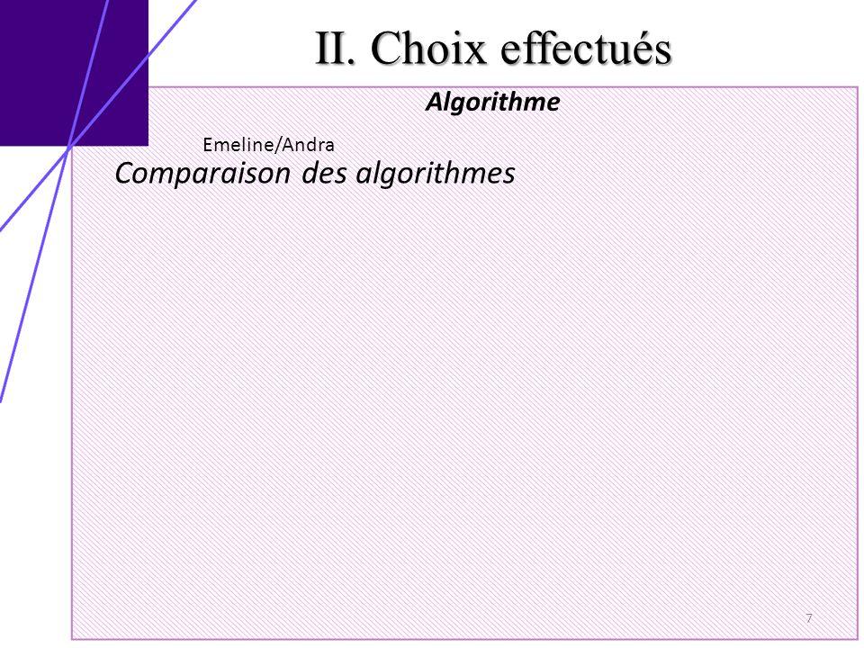II. Choix effectués Algorithme 7 Comparaison des algorithmes Emeline/Andra