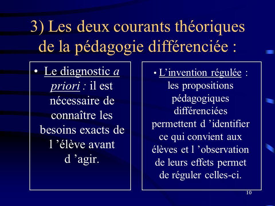 10 3) Les deux courants théoriques de la pédagogie différenciée : Le diagnostic a priori : il est nécessaire de connaître les besoins exacts de l élève avant d agir.