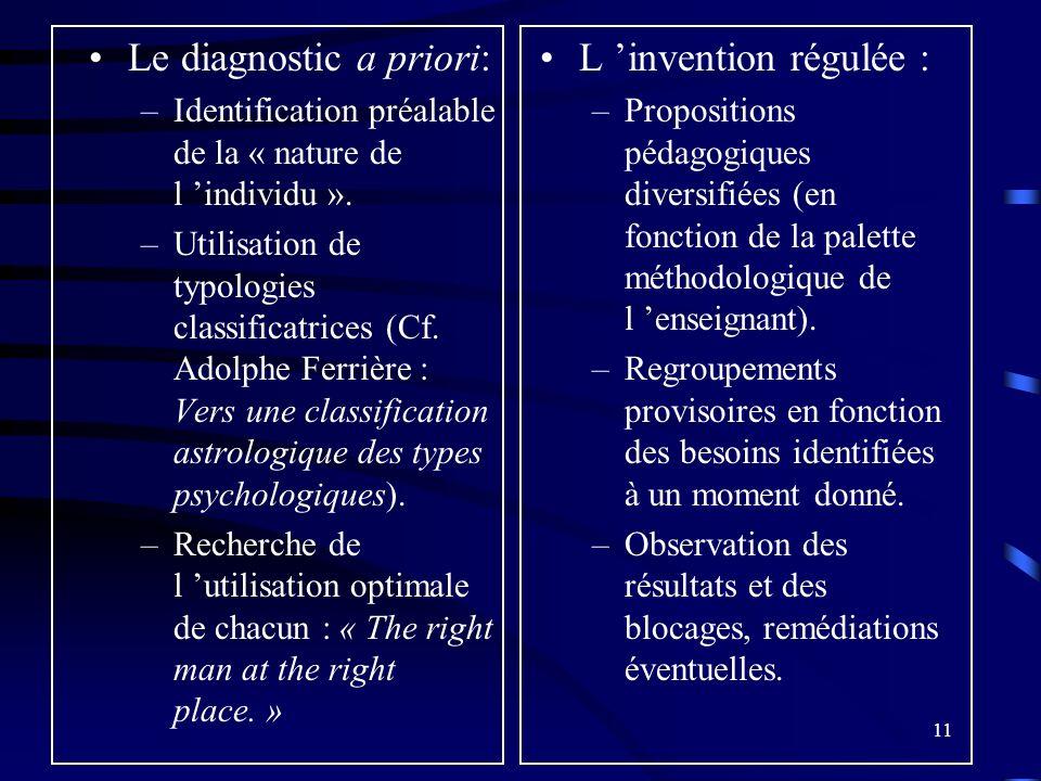 11 Le diagnostic a priori: –Identification préalable de la « nature de l individu ».