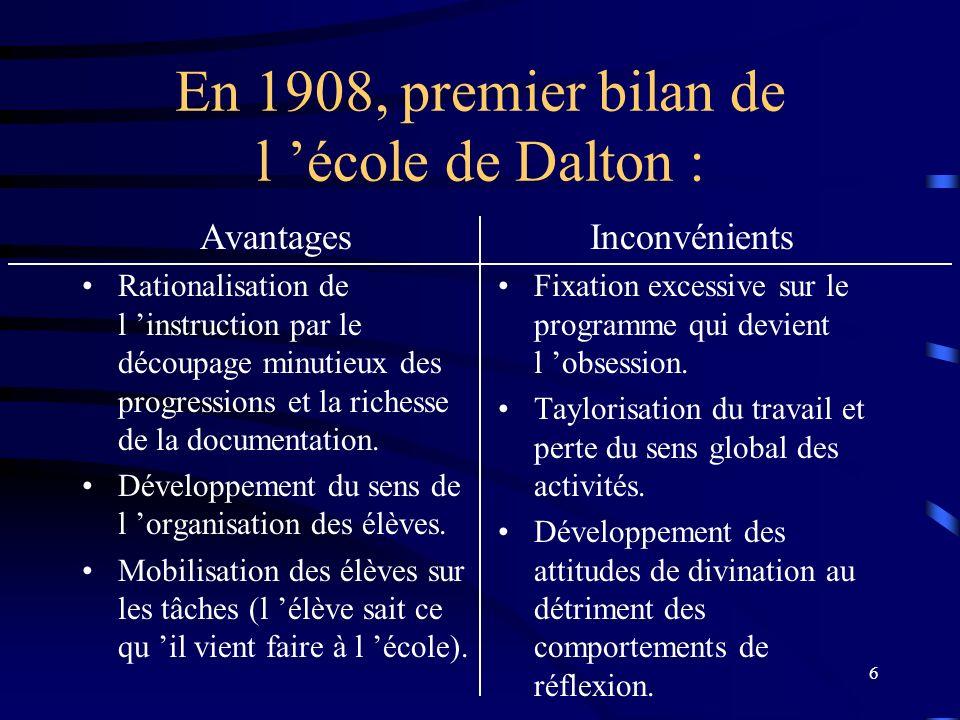 6 En 1908, premier bilan de l école de Dalton : Avantages Rationalisation de l instruction par le découpage minutieux des progressions et la richesse de la documentation.