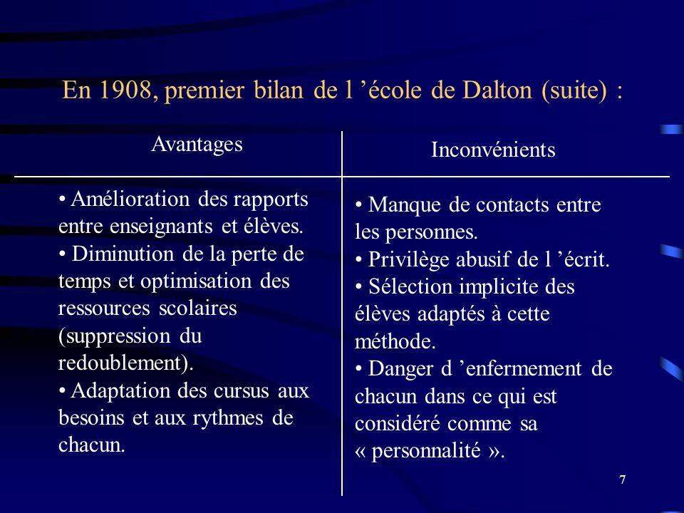 7 En 1908, premier bilan de l école de Dalton (suite) : Avantages Amélioration des rapports entre enseignants et élèves.