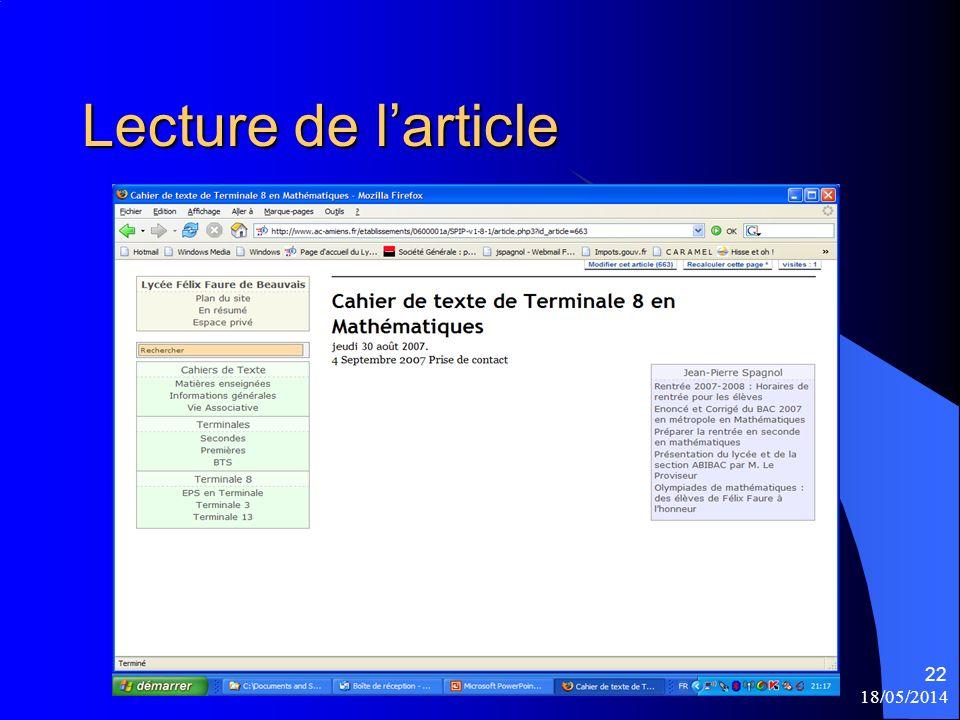 18/05/2014 22 Lecture de larticle
