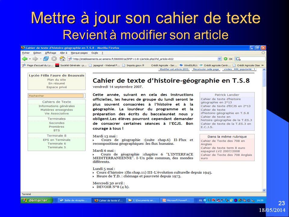 Mettre à jour son cahier de texte Revient à modifier son article 18/05/2014 23