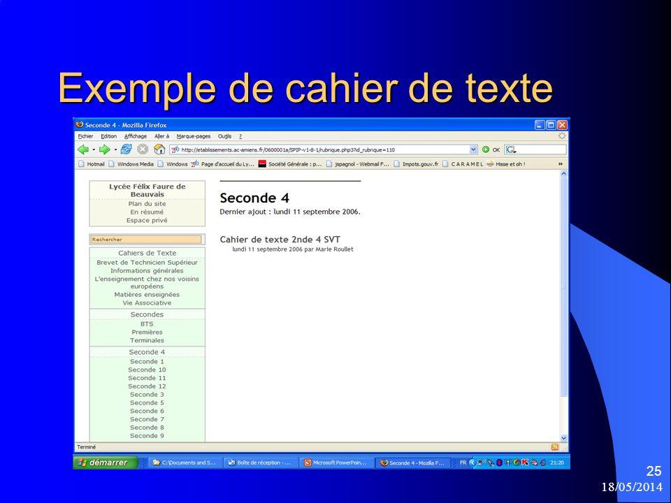18/05/2014 25 Exemple de cahier de texte
