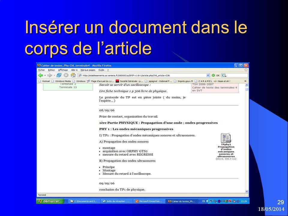 18/05/2014 29 Insérer un document dans le corps de larticle