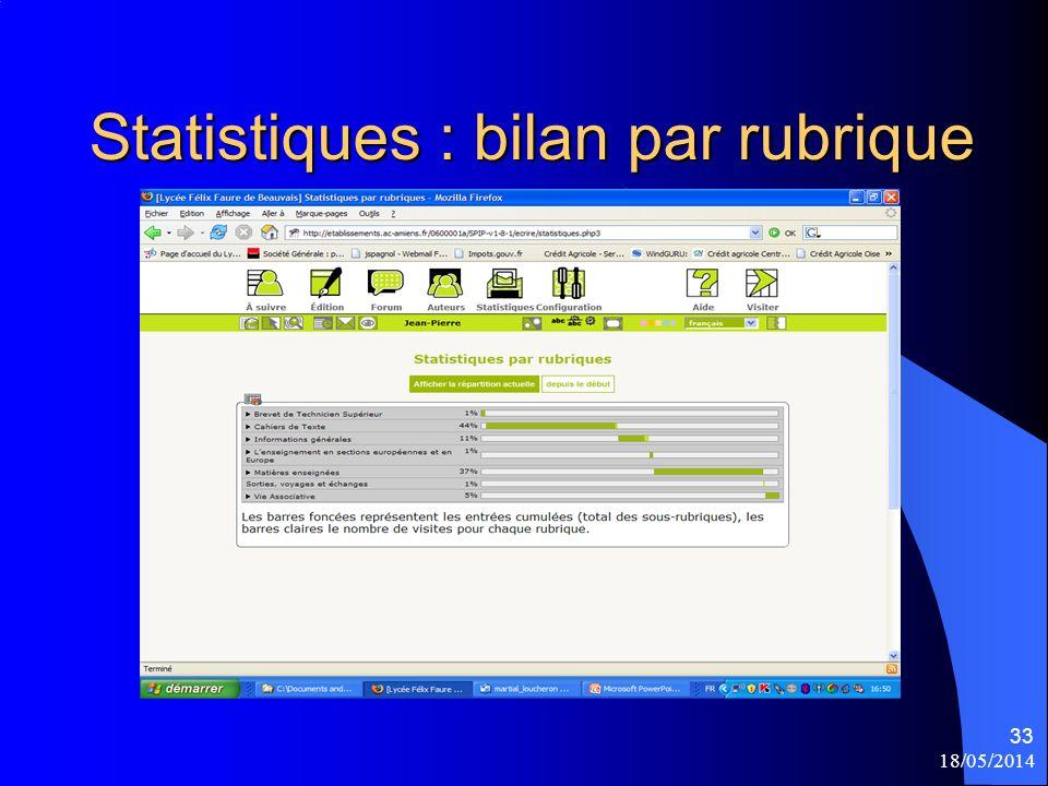 18/05/2014 33 Statistiques : bilan par rubrique