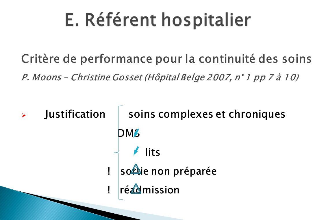 E.Référent hospitalier Critère de performance pour la continuité des soins P.