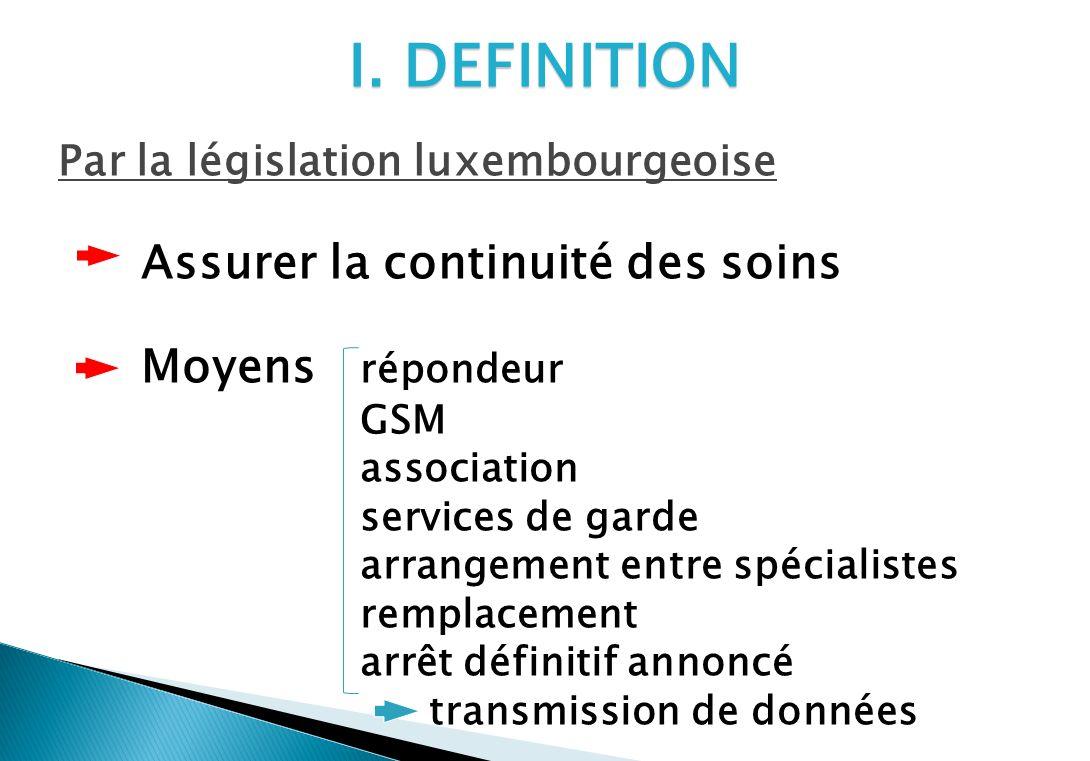 I. DEFINITION Par la législation luxembourgeoise Assurer la continuité des soins Moyens répondeur GSM association services de garde arrangement entre
