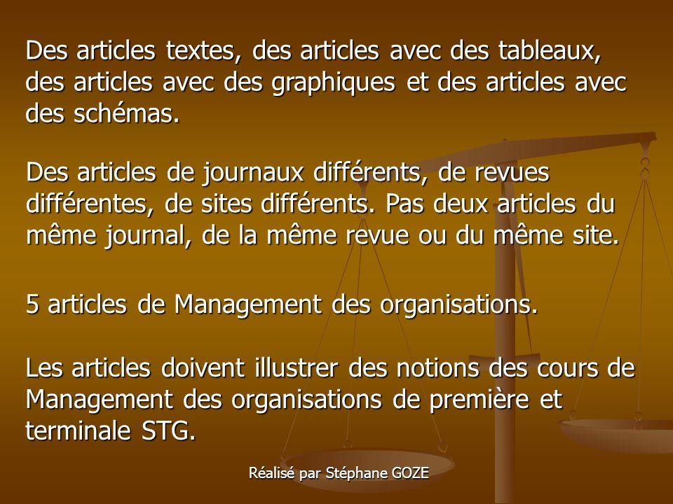 Des articles textes, des articles avec des tableaux, des articles avec des graphiques et des articles avec des schémas.
