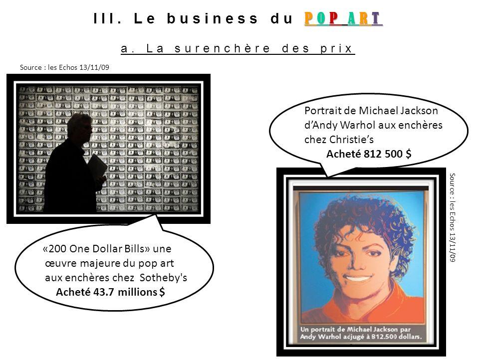 POP ART III. Le business du POP ART a. La surenchère des prix «200 One Dollar Bills» une œuvre majeure du pop art aux enchères chez Sotheby's Acheté 4