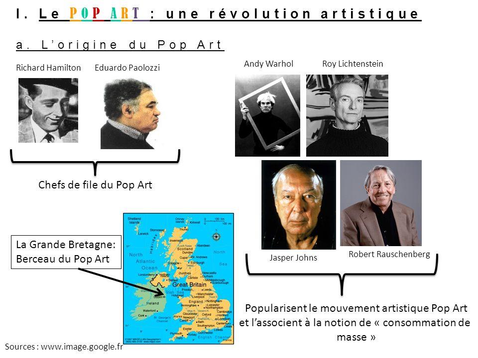 I. Le POP ART : une révolution artistique a. Lorigine du Pop Art Richard HamiltonEduardo Paolozzi Popularisent le mouvement artistique Pop Art et lass