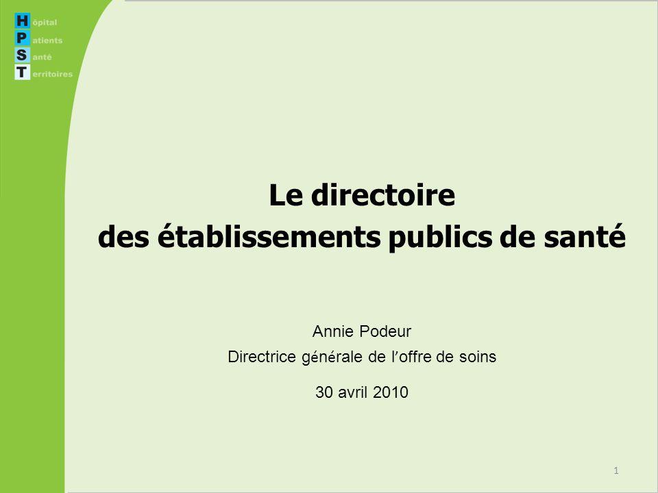 1 Le directoire des établissements publics de santé Annie Podeur Directrice g é n é rale de l offre de soins 30 avril 2010
