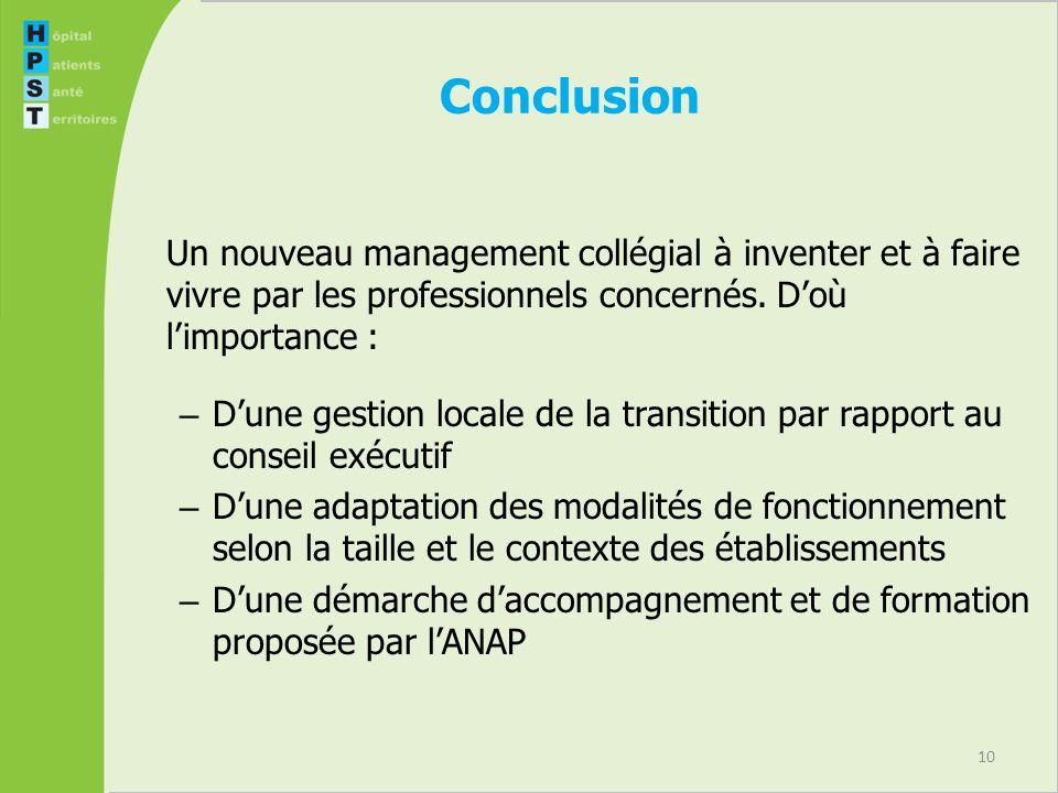 10 Conclusion Un nouveau management collégial à inventer et à faire vivre par les professionnels concernés.