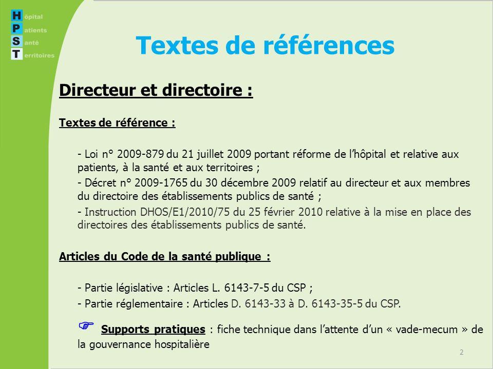 2 Textes de références Directeur et directoire : Textes de référence : - Loi n° 2009-879 du 21 juillet 2009 portant réforme de lhôpital et relative au